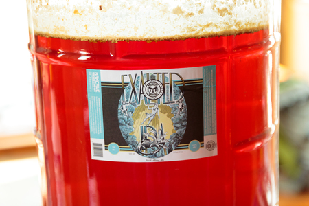 exalted: EUGENE, OR - NOVEMBER 4, 2015: Five gallon homebrew beer fermenting at the startup craft brewery Mancave Brewing.