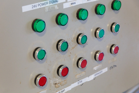 celcius: EUGENE, OR - NOVEMBER 4, 2015: Electrical control panel for temperature control of fermenters and mashing machines at the startup craft brewery Mancave Brewing.
