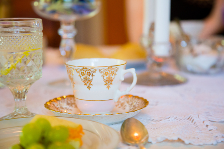 victorian house: Tea party on a wedding day for the bride and her bridesmaids in a Victorian house.