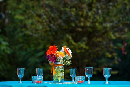 centerpiece: Flowers make up this wedding reception table centerpiece.