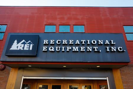 rei: EUGENE, OR - NOVEMBER 21, 2015: Recreational Equipment, Inc., or REI as commonly referred to, storefront in Eugene Oregon.
