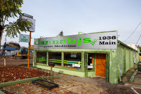 SPRINGFIELD, OR - NOVEMBER 12, 2015: Cannabis LLC Organic Medicine is a new medical marijuana dispensary in Springfield Oregon. Editorial