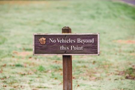 beyond: Sign reads no vehicles beyond this point at a public property farm in Oregon. Editorial