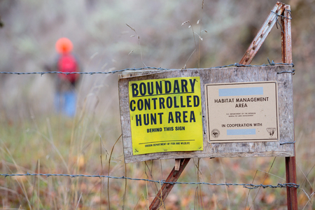 land management: GLIDE, OR - NOVEMBER 16, 2015: Master hunter Jerry Rainey hikes into the Bureau of Land Management (BLM) north bank habitat management area along the North Umpqua River, a multi-purpose public lands property and controlled hunt area. Editorial