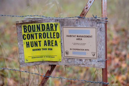 governement: GLIDE, OR - NOVEMBER 16, 2015: Bureau of Land Management (BLM) north bank habitat management area along the North Umpqua River is a multi-purpose public lands property and controlled hunt area. Editorial