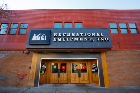 referred: EUGENE, OR - NOVEMBER 21, 2015: Recreational Equipment, Inc., or REI as commonly referred to, storefront in Eugene Oregon.