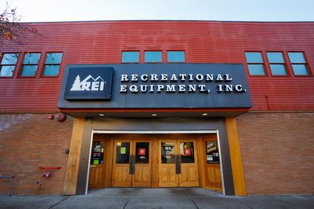 eugene: EUGENE, OR - NOVEMBER 21, 2015: Recreational Equipment, Inc., or REI as commonly referred to, storefront in Eugene Oregon.