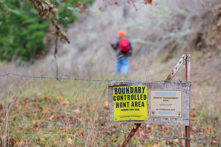 governement: GLIDE, OR - NOVEMBER 16, 2015: Master hunter Jerry Rainey hikes into the Bureau of Land Management BLM north bank habitat management area along the North Umpqua River, a multi-purpose public lands property and controlled hunt area.