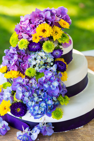c�r�monie mariage: White and purple wedding cake at the reception for a bride and groom. Banque d'images