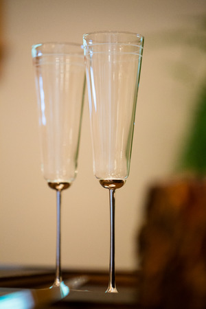 champagne flutes: Wedding reception champagne flutes for the bride and groom. Stock Photo