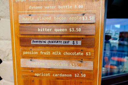 dynamo: SAN FRANCISCO, CA - DECEMBER 12, 2015: Famed Dynamo Donuts menu items at cafe in San Francisco. Editorial