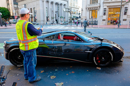 valued: SAN FRANCISCO, CA - DECEMBER 11, 2015: Horacio Pagani automobile parked near Union Square in San Francisco, this vehicle is valued over $1 million.
