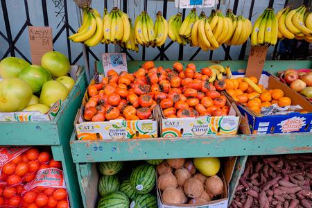 openair: SAN FRANCISCO, CA - DECEMBER 9, 2015: Farmers market in an open-air shop in China Town San Francisco.