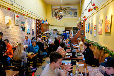 eating area: SAN FRANCISCO, CA - DECEMBER 10, 2015: Zazie Cafe restaurant is a very popular breakfast dining option in the Haight neighborhood of San Francisco California.