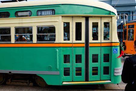 public transportation: SAN FRANCISCO, CA - DECEMBER 12, 2015: Public transportation street car in San Francisco along the Embarcadero.