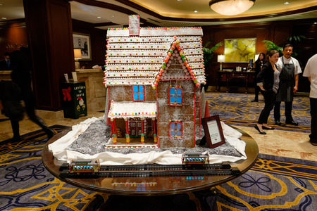 SAN FRANCISCO, CA - DECEMBER 11, 2015: Gingerbread house in the lobby for Omni Hotel in San Franciscos financial district. Editorial