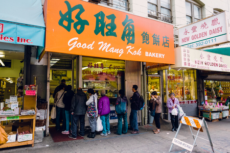mang: SAN FRANCISCO, CA - DECEMBER 9, 2015: Good Mang Kok Bakery with a line out the door in China Town San Francisco. Editorial
