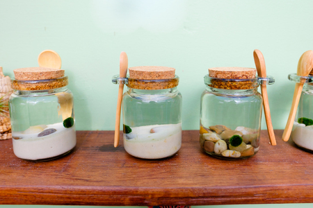 plantlife: Plants that live in the water in jars of various looks. Stock Photo