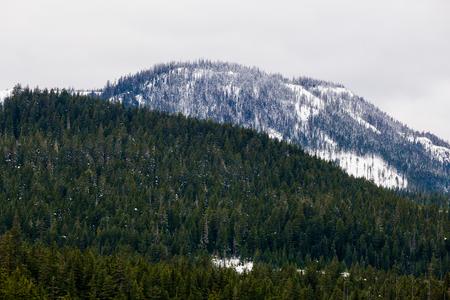 oregon  snow: Winter snow atop mountains in Oregon near Willamette Pass and Diamond Peak. Stock Photo