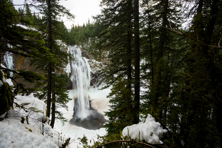 frozen creek: Salt Creek Falls on Willamette Pass in Oregon near Eugene during the winter with ice and frozen water crystals behind the waterfall.