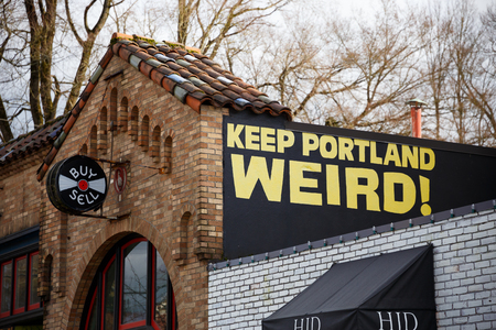 keep: PORTLAND, OR - FEBRUARY 2, 2016: Keep Porltland Weird sign at a well known record store in downtown PDX.
