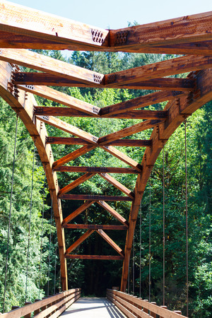foot bridges: Tioga bride made out of wood over the North Umpqua River in Oregon.