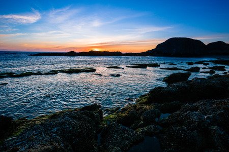 oregon coast: Seal Rock Beach with its massive rocks at sunset on the Oregon Coast. Stock Photo