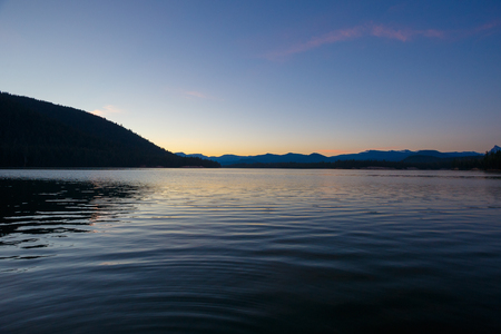 national forest: Lemolo Reservoir is a popular lake for camping and fishing in the Umpqua National Forest. Stock Photo