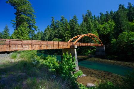 foot bridges: Tioga bride made out of wood over the North Umpqua River in Oregon.
