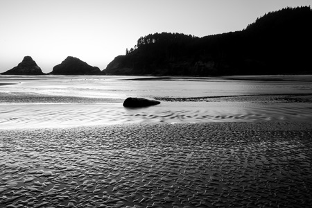 oregon coast: Heceta Head Beach located on the beautiful Oregon Coast at sunset on a clear Summer evening near dusk.