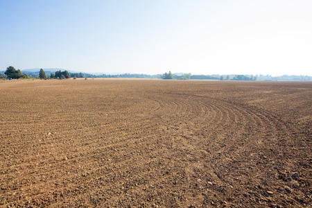 farm land: Farm land property in the country prepped and ready for a farmer or rancher to plant an agriculture crop.