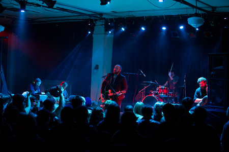 this: EUGENE, OR - JANUARY 9, 2015: Independent postrock band This Patch of Sky performs a concert at the famed Wow Hall in Eugene, Oregon.