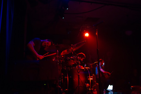 eugene: EUGENE, OR - JANUARY 9, 2015: Independent postrock band This Patch of Sky performs a concert at the famed Wow Hall in Eugene, Oregon.