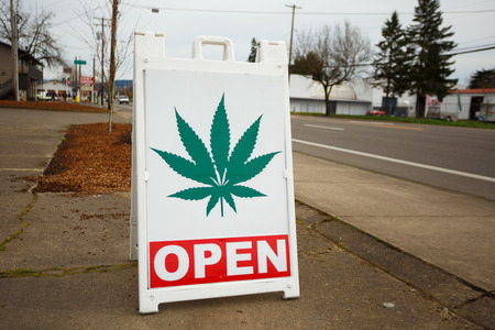 february: SPRINGFIELD, OR - FEBRUARY 16, 2016: Marijuana dispensaries like this one have popped up in large number due to a law change in Oregon legalizing pot for recreational purposes.
