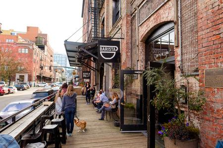PORTLAND, OR - FEBRUARY 27, 2016: Barista coffee shop in the Pearl District of Portland Oregon.