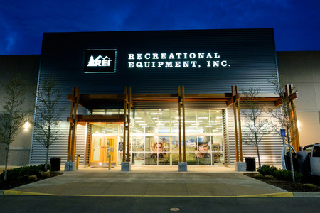 referred: SALEM, OR - FEBRUARY 27, 2016: Recreational Equipment Inc, commonly referred to as REI, brand new storefront in Salem Oregon at the Keizer Station shops.