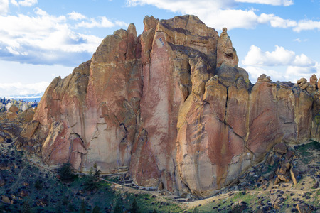 smith rock: SMITH ROCK, OR - FEBRUARY 22, 2016: Rock climbers prepare ropes and check routes before climbing at Smith Rock State Park in Central Oregon.