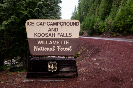 national forest: MCKENZIE BRIDGE, OR - MARCH 5, 2016: National Forest Service sign for Ice Cap Campground and Koosah Falls. Editorial