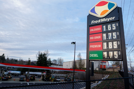 gas prices: PORTLAND, OR - FEBRUARY 27, 2016: Low gasoline prices shown on a sign at a Fred Meyer gas station in Portland.