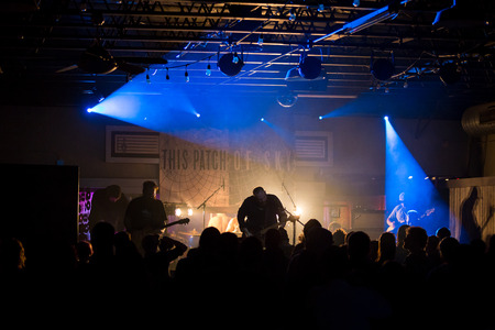 popularity: EUGENE, OR - MARCH 26, 2016: Post-rock instrumental band This Patch of Sky performs at the HiFi Music Hall in Eugene, Oregin, USA. The bands talented musicianship and lack of vocals have set them apart, gaining international popularity.