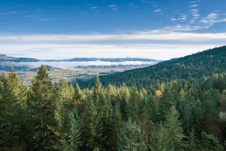 スプリング オレゴン サーストン丘陵自然は、いくつかの崖の上にタフなハイキングの後の素晴らしい景色を提供しています。