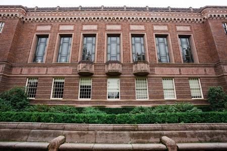 Ridderbibliotheek de bouwbuitenkant bij de Universiteit van Oregon in Eugene Oregon.