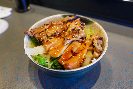 Japanese food teriyaki bowl at a restaurant in Oregon.