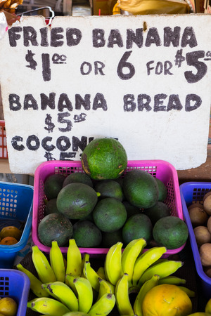 Hawaii farmers market with avocado and banana alongside other tropical fruits from this island paradise.