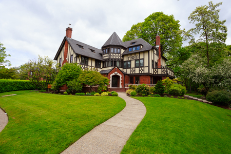sorority: EUGENE, OR - MAY 13, 2015: Large sorority in a mansion on the University of Oregon campus in Eugene. Editorial