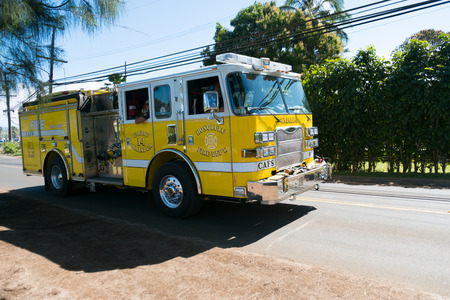 HALEIWA, OAHU, HAWAII - FEBRUARY 15, 2017: Honolulu Fire Department heads back to the station after responding to a vehicle vs pedestrian accident. Editorial