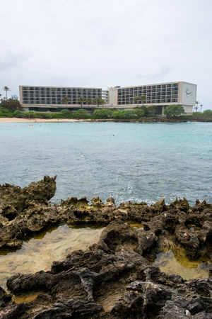 oahu: TURTLE BAY, OAHU, HAWAII - FEBRUARY 19, 2017: Backside of the famed Turtle Bay Resort on the North Shore of Oahu Hawaii. Editorial