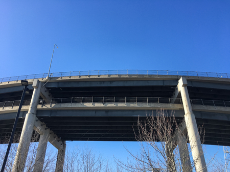 Interstate 5 bridge over Portland Oregon and the Willamette River on a bright sunny day with a blue sky. Stock Photo