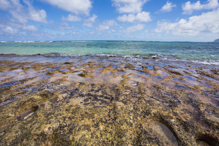 oahu: Travel scenic landscape of Bathtub Beach in Laie Oahu Hawaii on the North Shore windward side of the island.