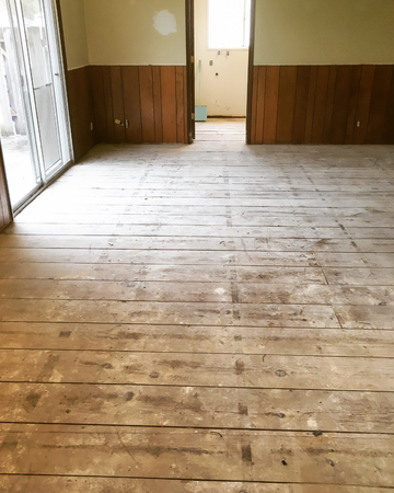 trashed: Car decking subfloor in major house renovation and remodel.